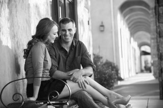 A beautiful couple enjoying each other at El Dorado Hills Town Center in El Dorado Hills, California.