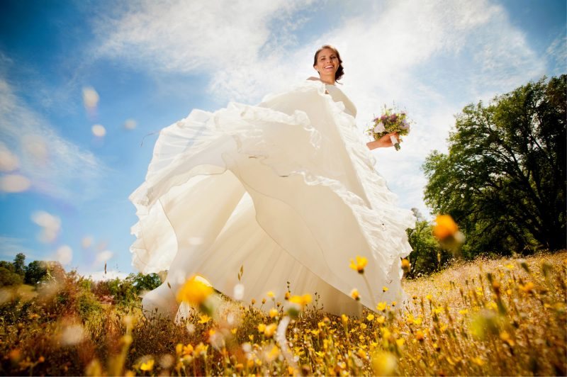 Bride in wedding dress in field of sunflowers at Fausel Ranch in Placerville, CA